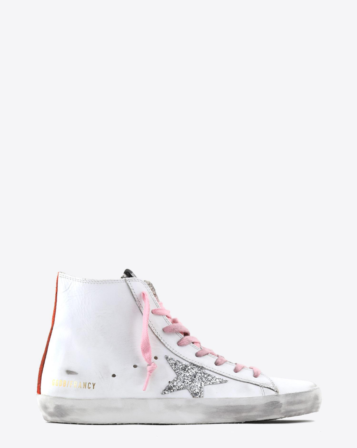 Golden Goose Woman Collection Sneakers Francy - White Leather - Silver Glitter Star