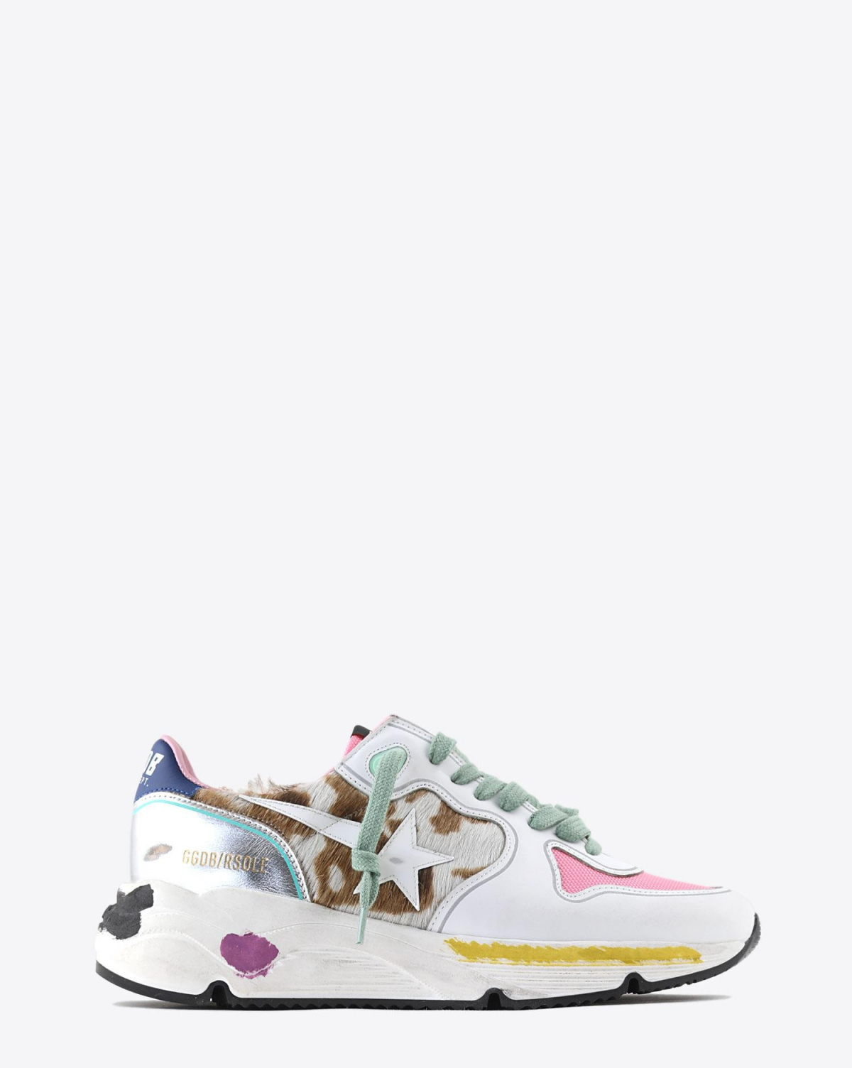 Golden Goose Woman Collection Sneakers Running Sole - Cow Pony - White Patent Star