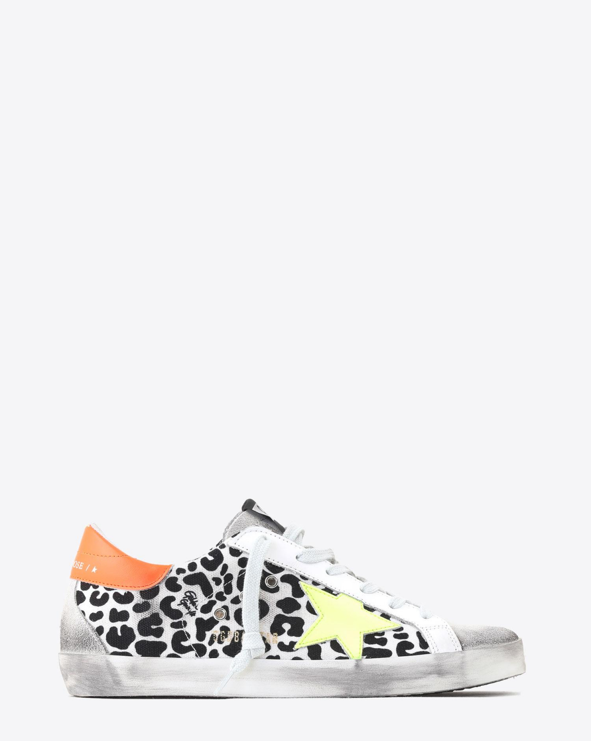 Golden Goose Woman Collection Sneakers Superstar toile imprimée léopard étoile jaune