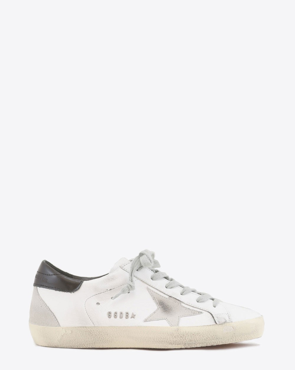 Golden Goose Woman Permanent Sneakers Superstar cuir blanc arrière noir 10220