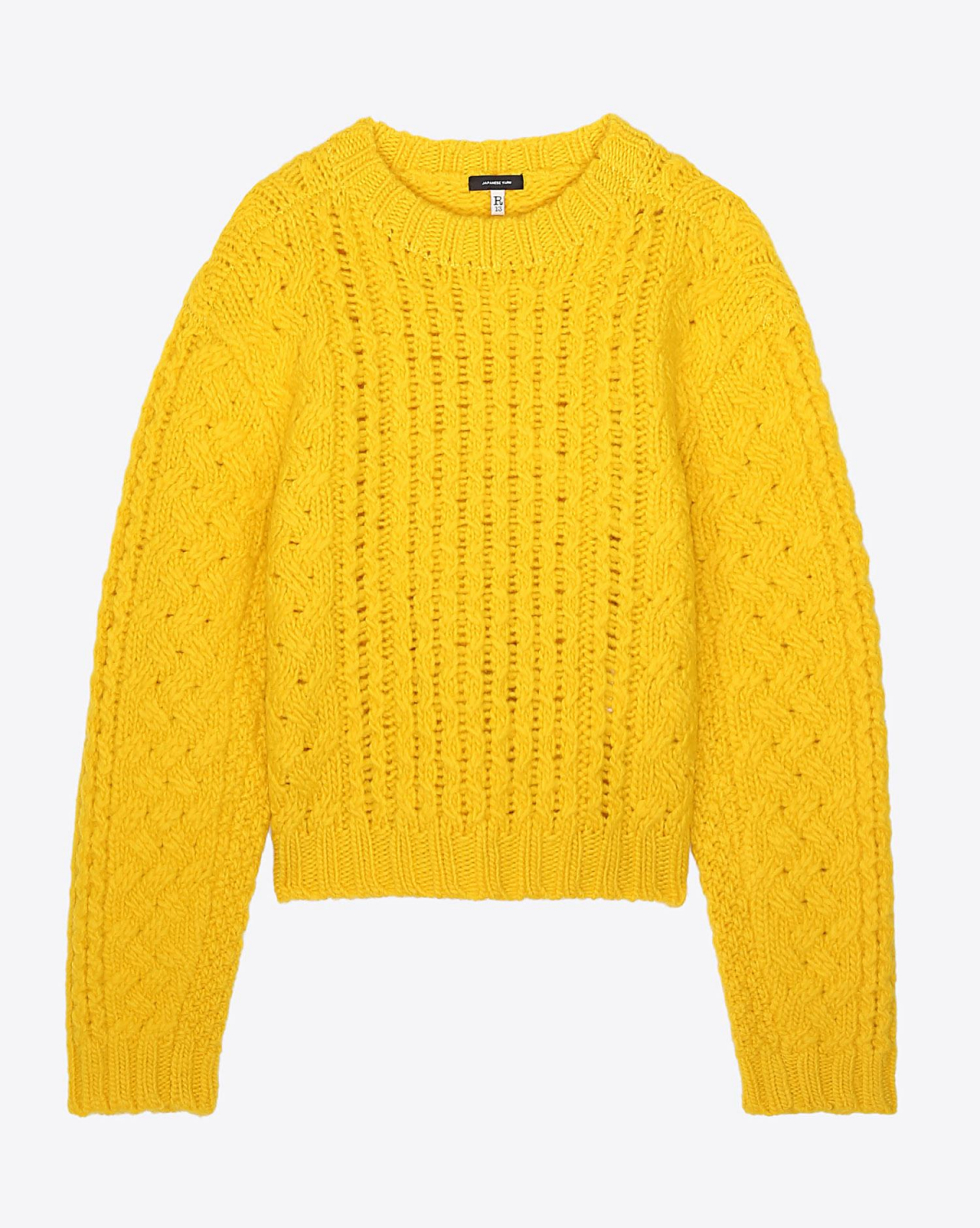 R13 Denim Collection Cropped Aran Sweater - Yellow