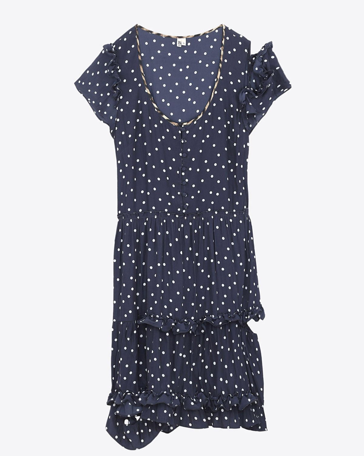 R13 Denim Collection Deconstructed Babydoll - Polka Dot