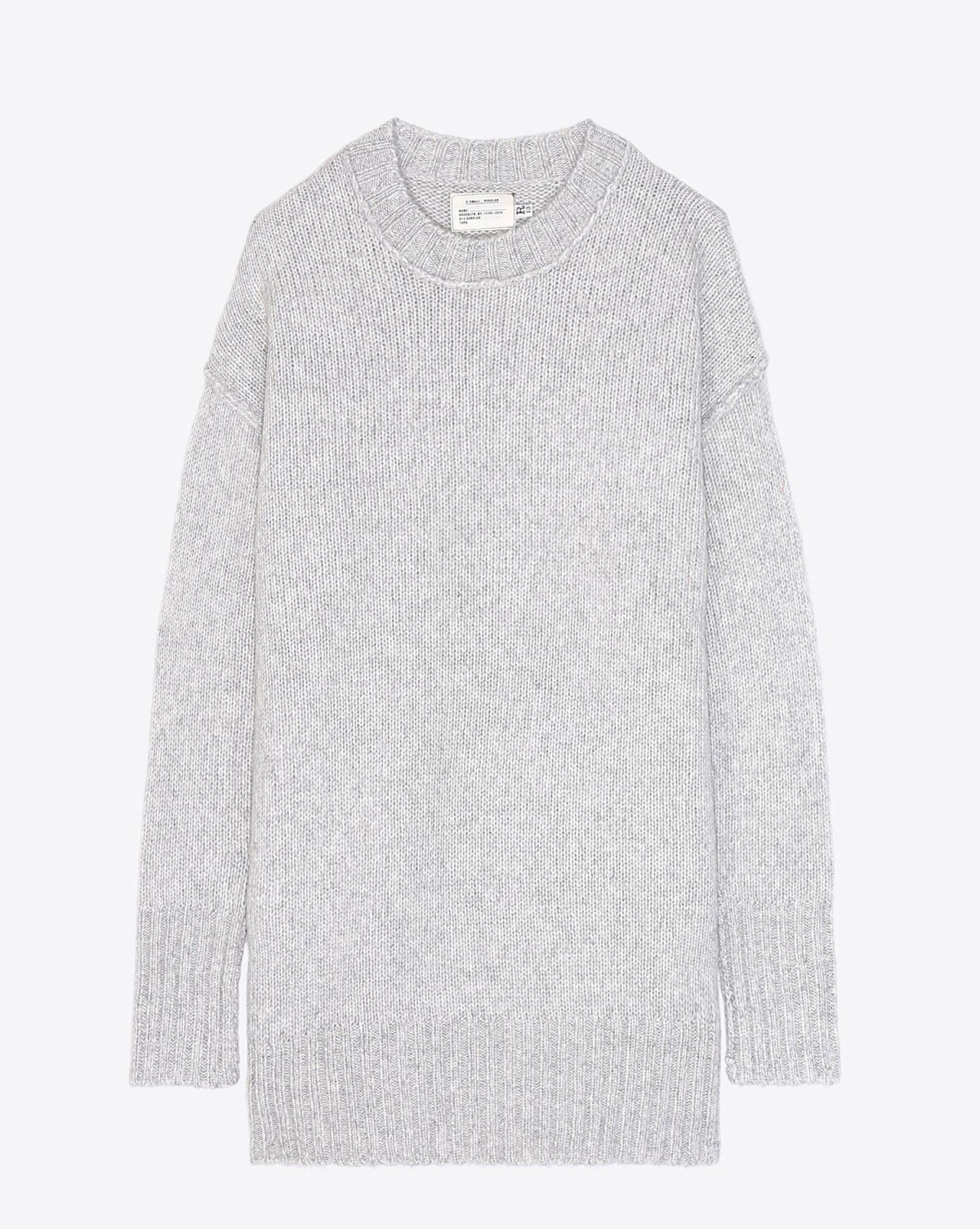 R13 Denim Collection Oversized Crewneck Sweater - Heather Grey