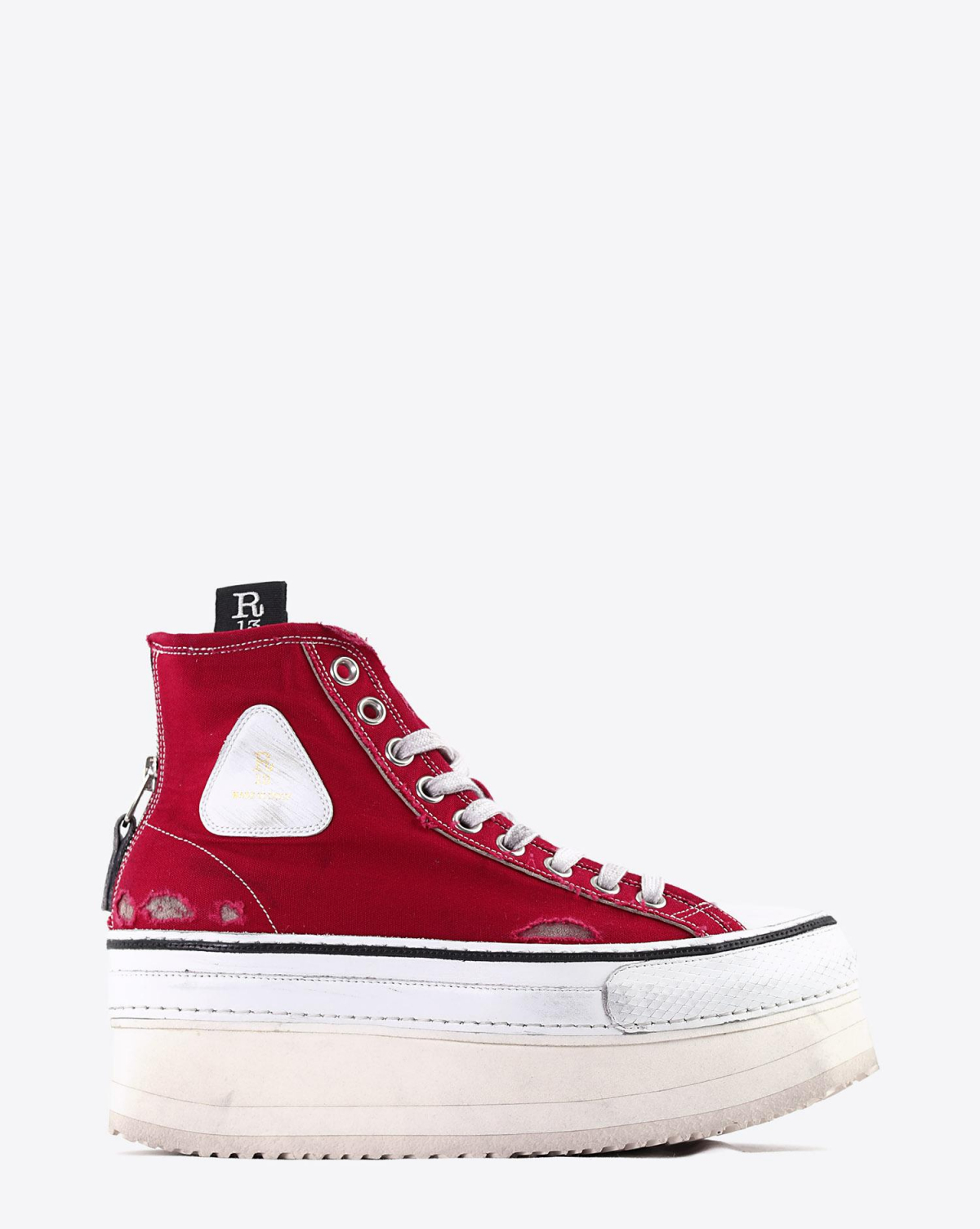 R13 Denim Collection Platform High Top Sneakers - Red