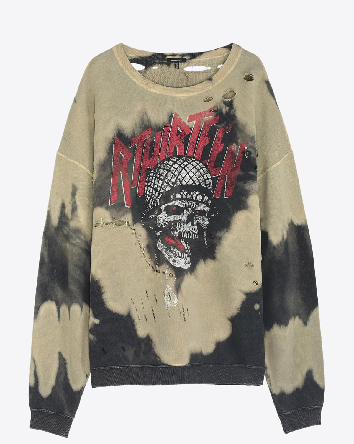 R13 Denim Pré-Collection Battle Punk Oversized Crewneck - Bleach