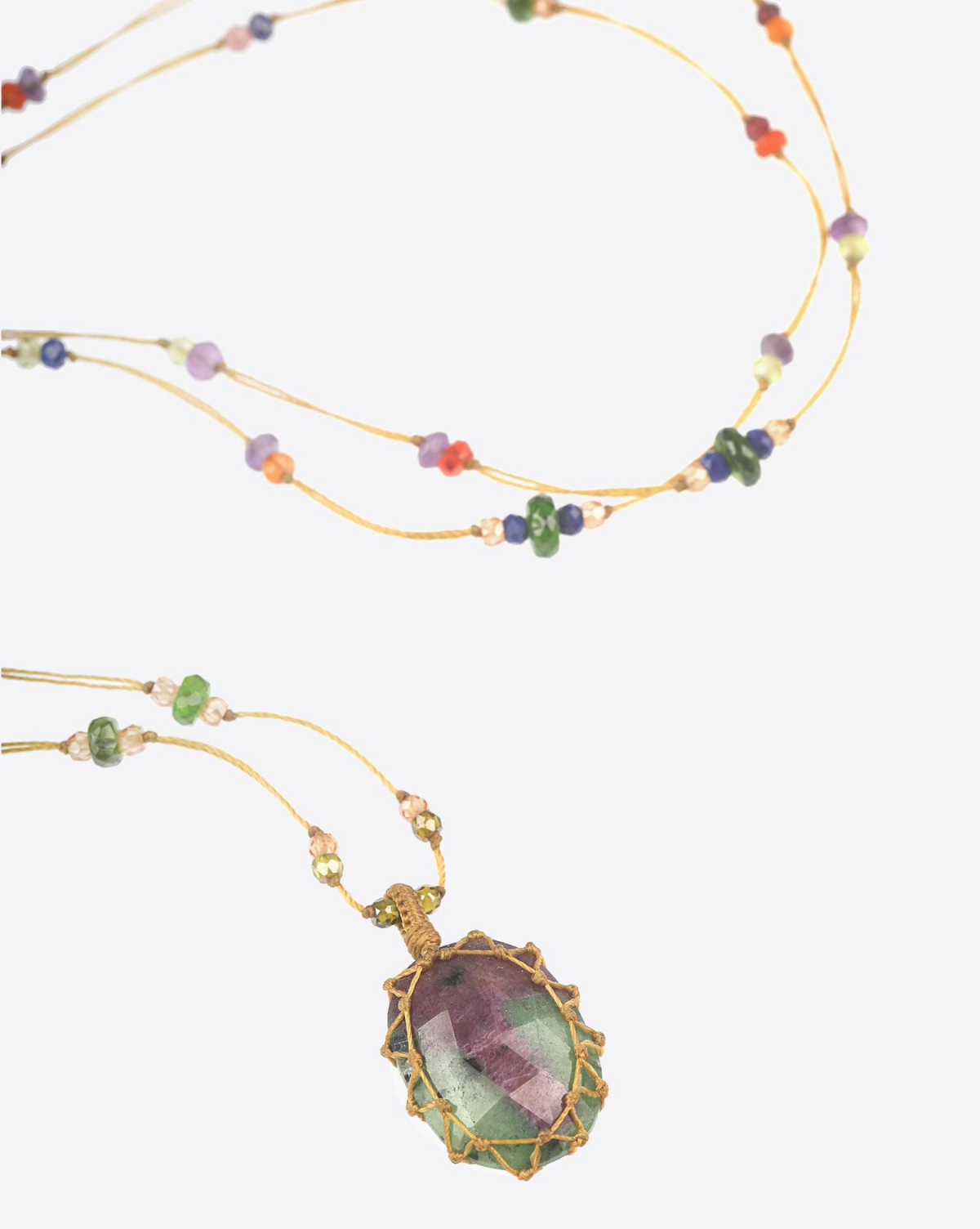 Sharing Collier Long TIBETAN - Rubis Zoisite