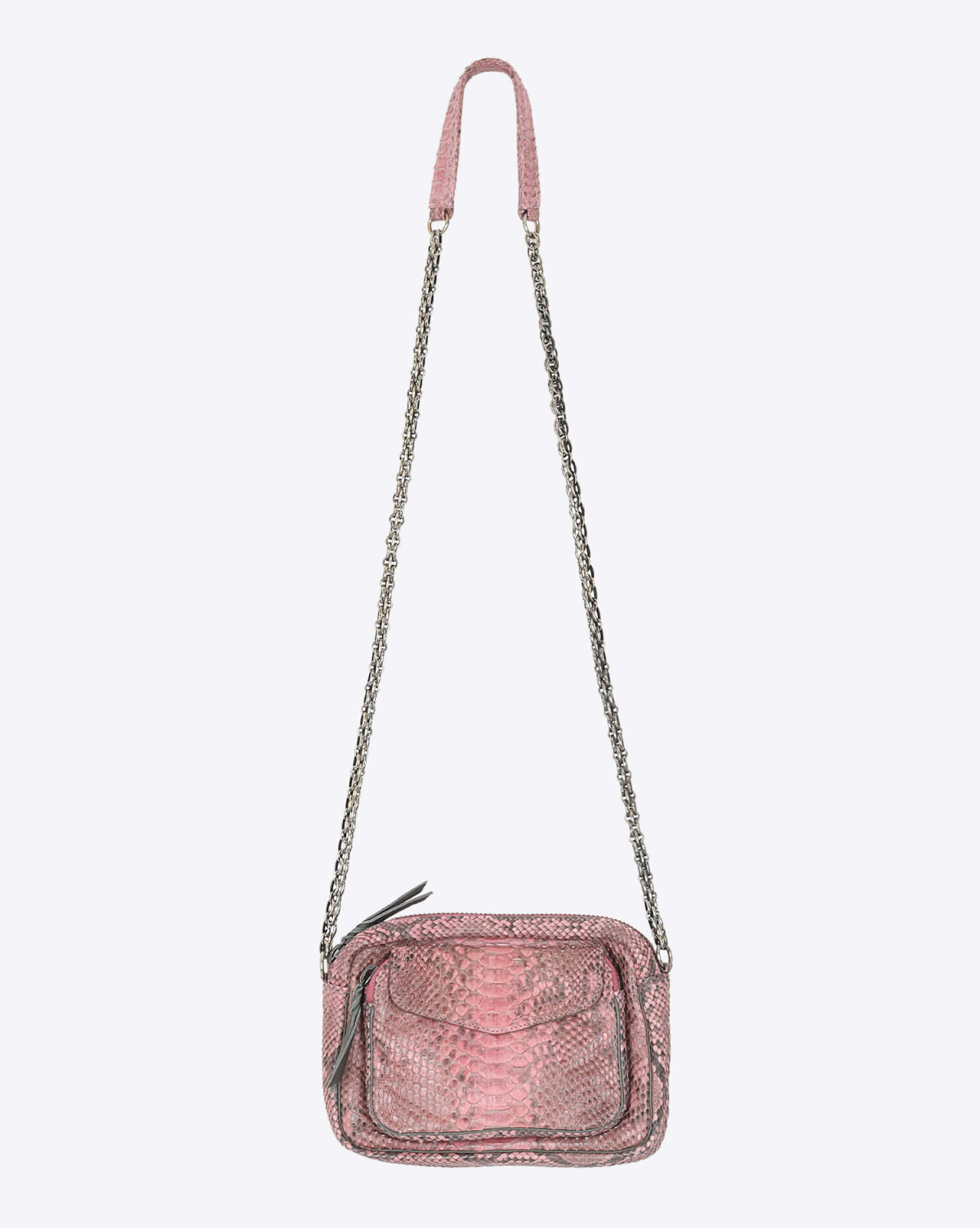 Claris Virot Charly Python Rose Poudre - Chaine Argent