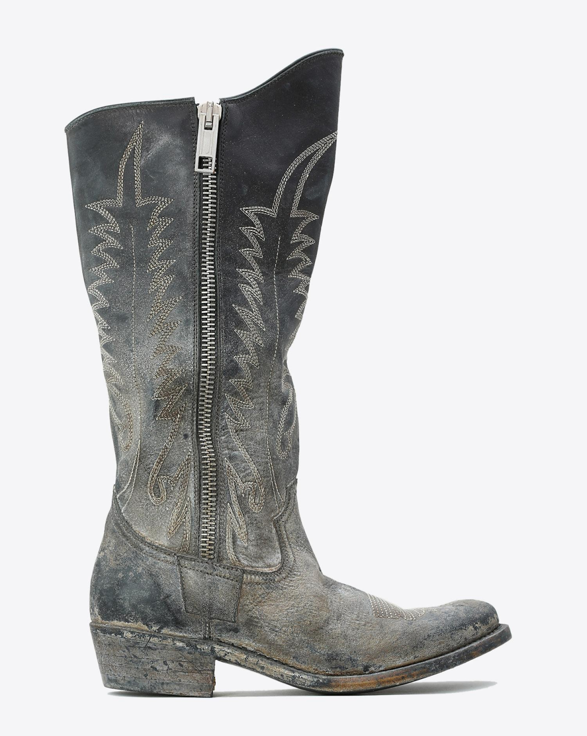 Golden Goose Woman Chaussures Pré-Collection Boots Golden Zip Black Leather Old