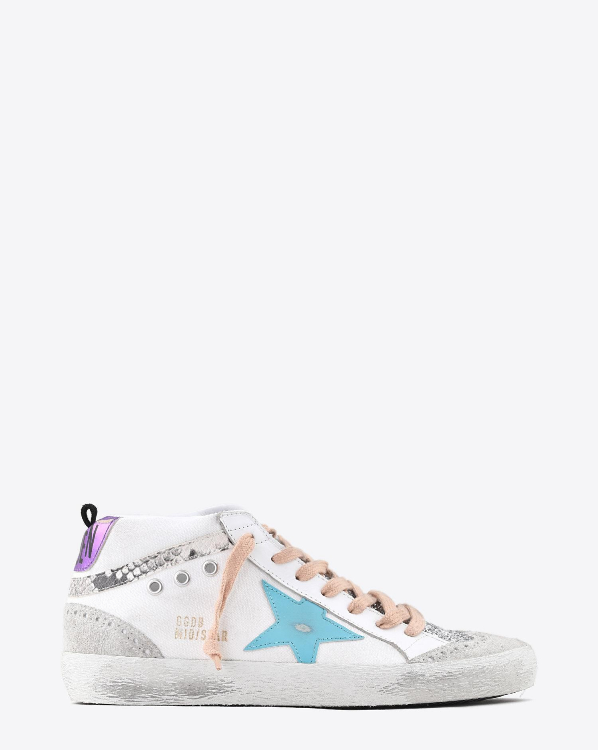 Golden Goose Woman Collection Sneakers Mid Star - White Canvas - Silver Glitter - Mavi Blue Star