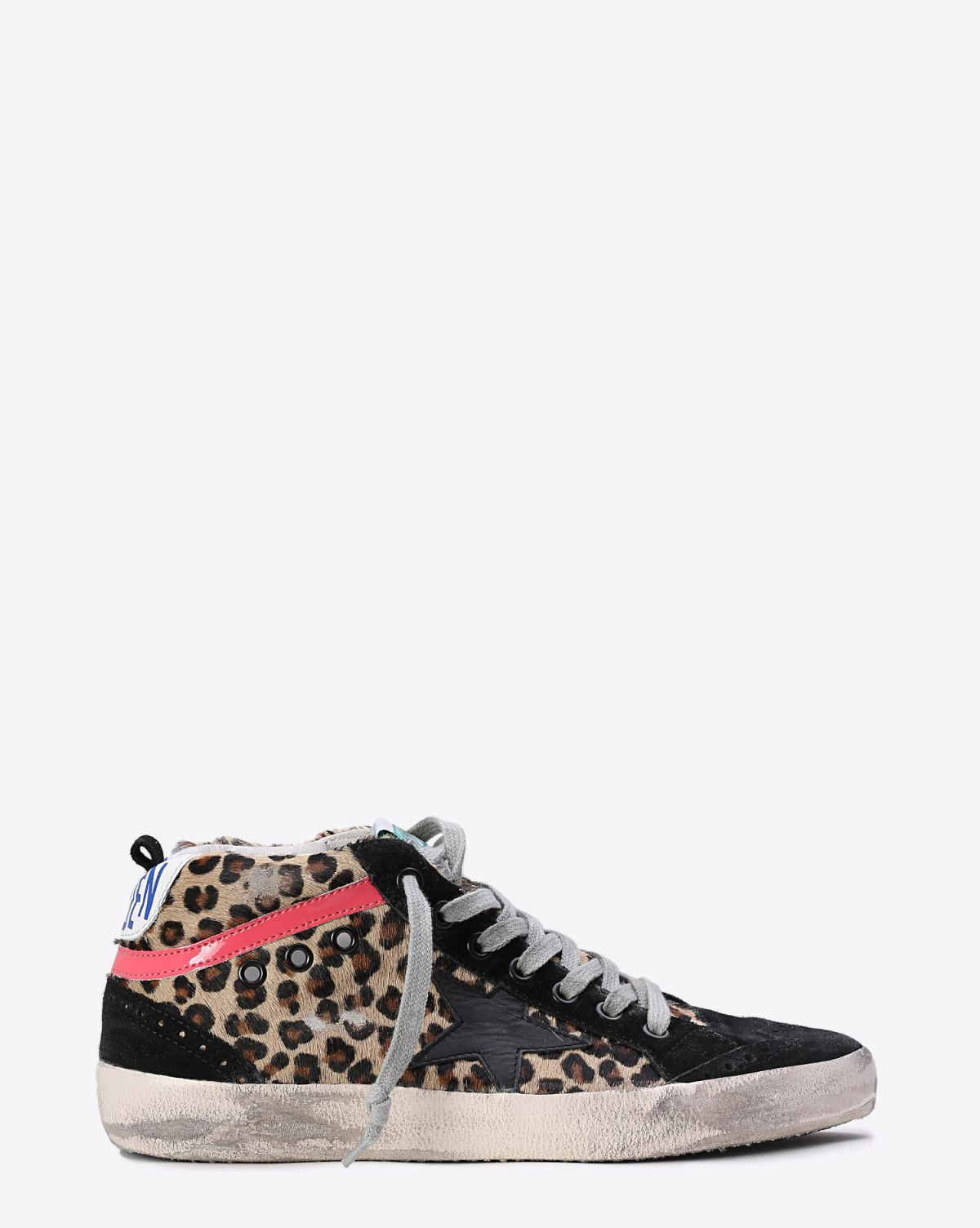 Golden Goose Woman Collection Sneakers Mid Star Horsy Leather - Black star