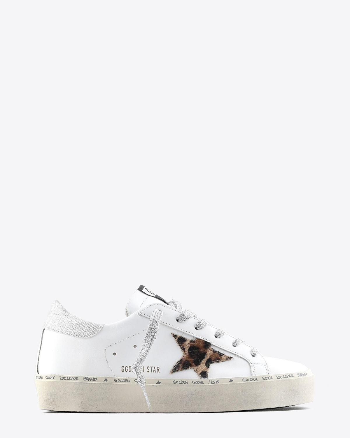 Golden Goose Woman Pré-Collection Sneakers compensées Hi Star cuir blanc étoile Pony léopard