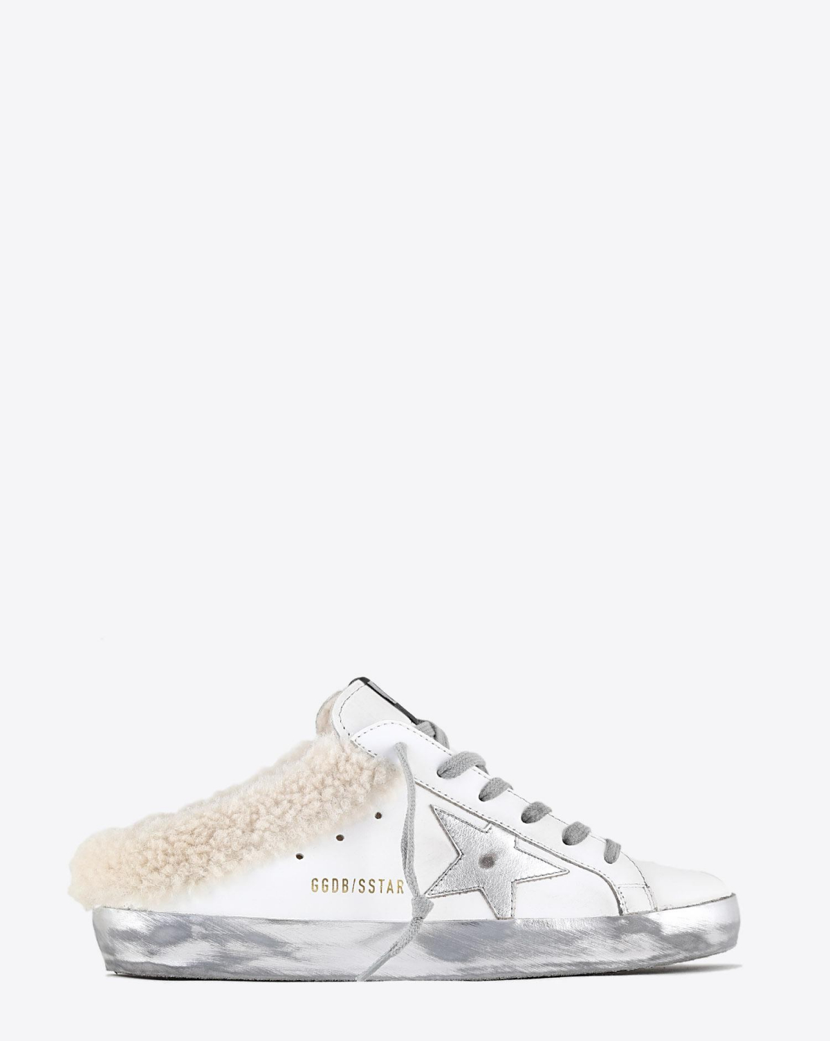 Golden Goose Woman Pré-Collection Superstar Sabot Shearling - White - Silver - Beige 10224