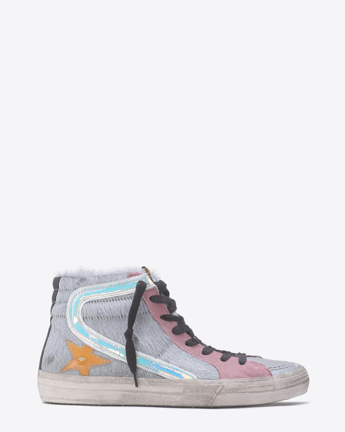 Golden Goose Woman Pré-Collection Sneakers Slide Silver Pony-Ocher Star
