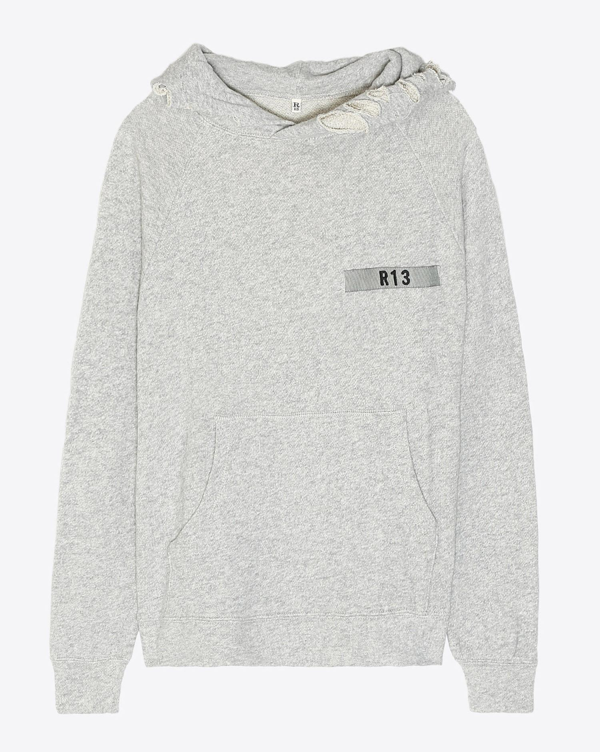 R13 Denim Pré-Collection Distressed Hoodie - Heather Grey