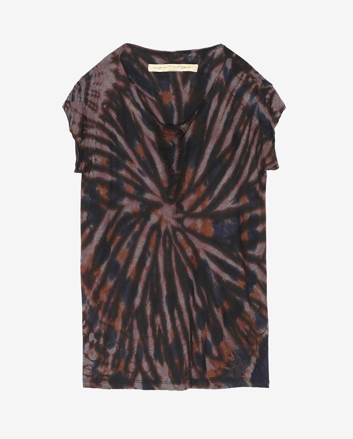 Raquel Allegra Pré-Collection Shred Front Muscle Tee Tie & Dye - Black Tiger