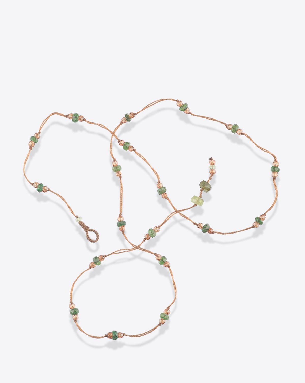 Sharing Bracelet 3 Tours Loopy Sparkly Duo - Cordon Tabac