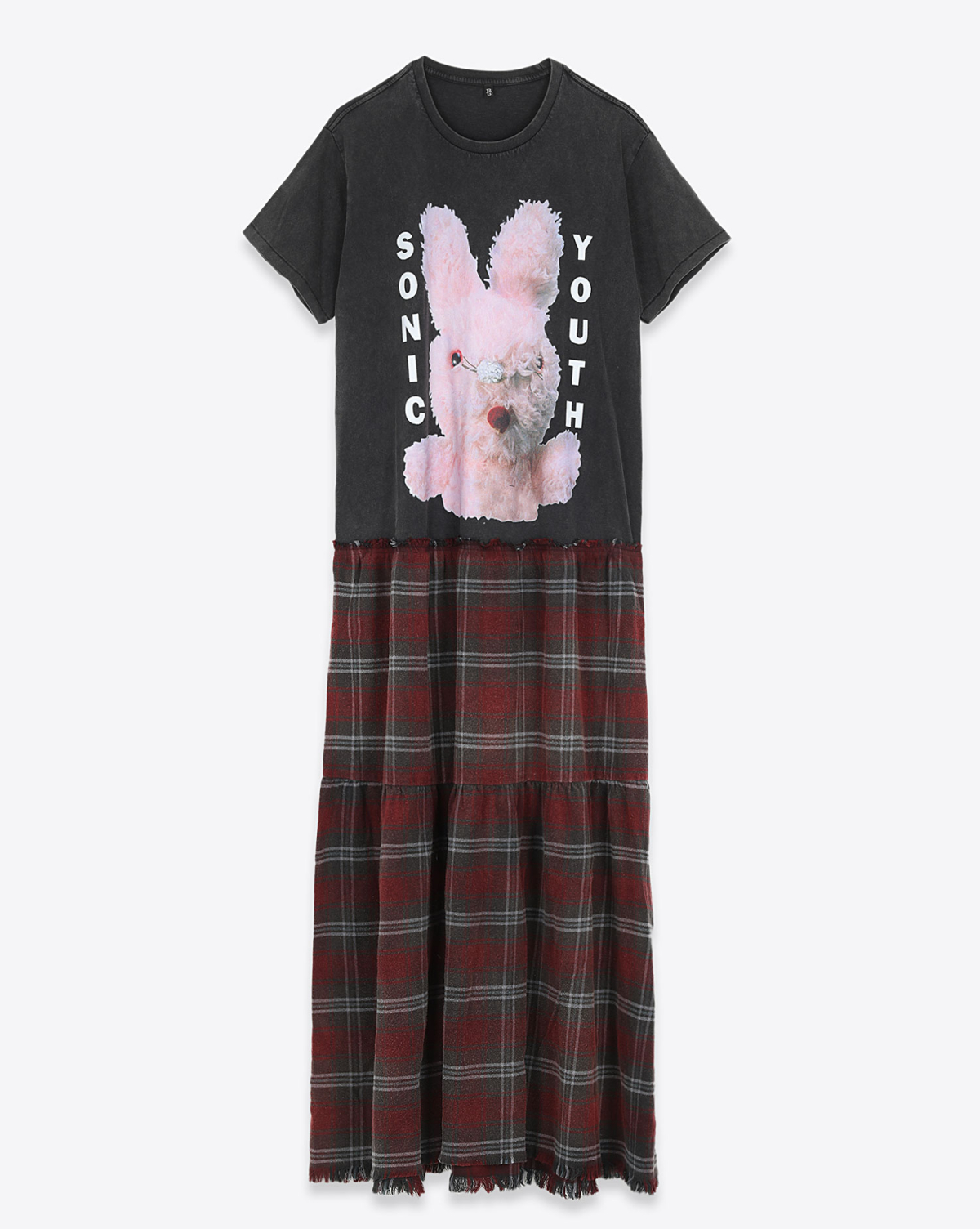 R13 Denim Collection Sonic Youth Bunny Dress - Blk W/Overdyed Red Plaid