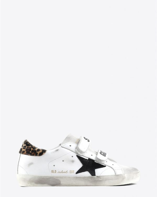 Sneakers Golden Goose Woman Pré-Collection Sneakers Old School - White Leather - Leopard Pony
