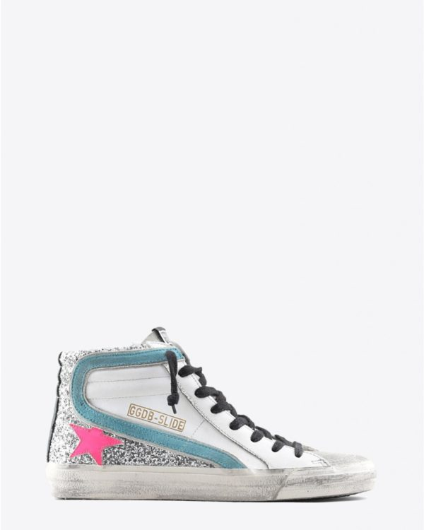 Sneakers Golden Goose Woman Pré-Collection Sneakers Slide - White Leather - Silver Glitter - Fuxia Star
