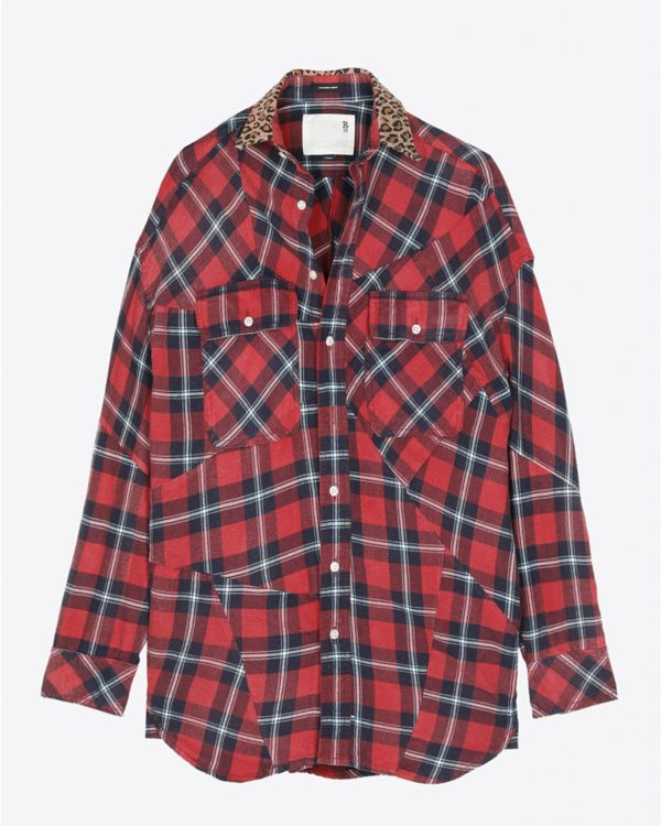 Chemise R13 Denim Collection Patched Shirt - Red Plaid W/Leopard