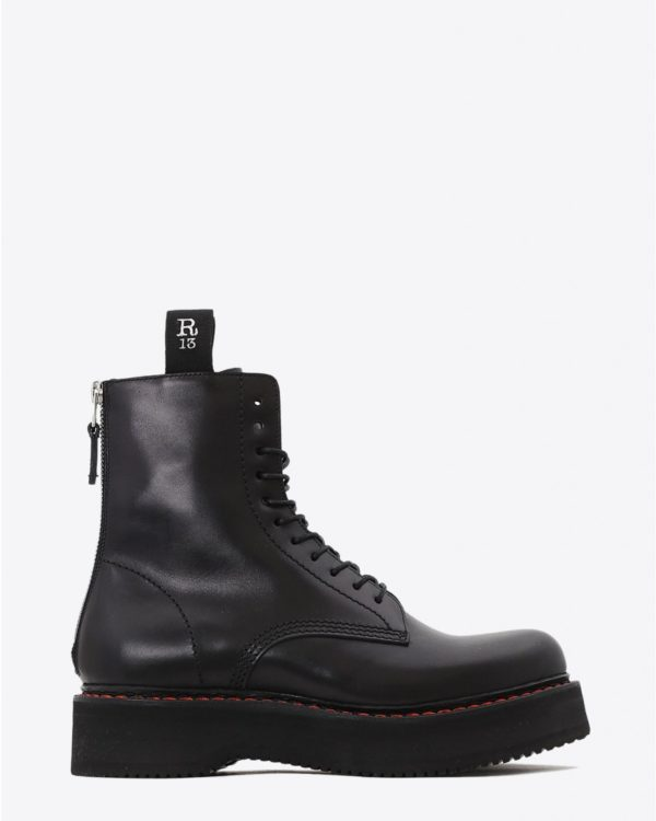 Boots R13 Denim Permanent Single Stacked Lace Up Boots - Black