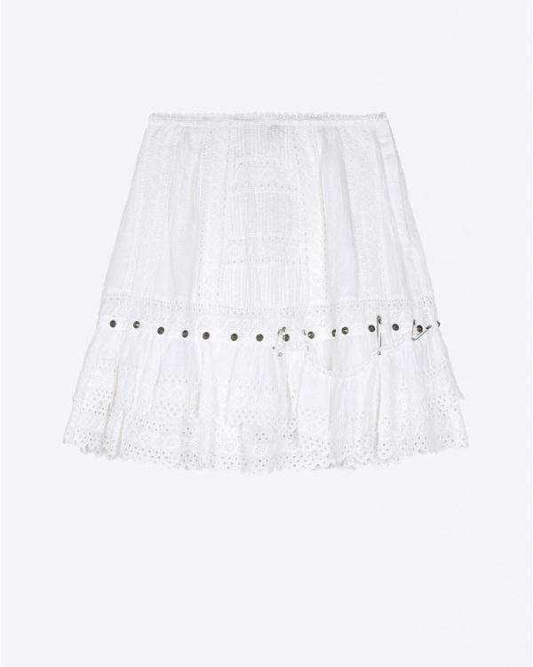 Jupe R13 Denim Pré-Collection Lacy Gauze Skirt - White