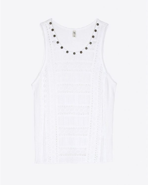 Top R13 Denim Pré-Collection Lacy Gauze Tank - White