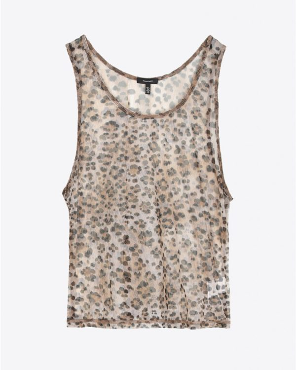 Top R13 Denim Pré-Collection Mesh Tank - Leopard