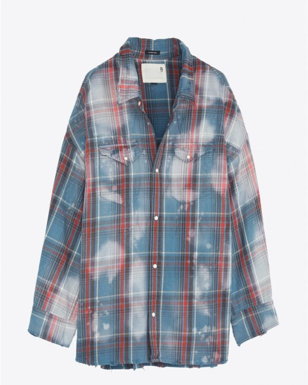 Chemise R13 Denim Pré-Collection Oversized Cowboy Shirt - Blue Plaid W/Bleach Stains