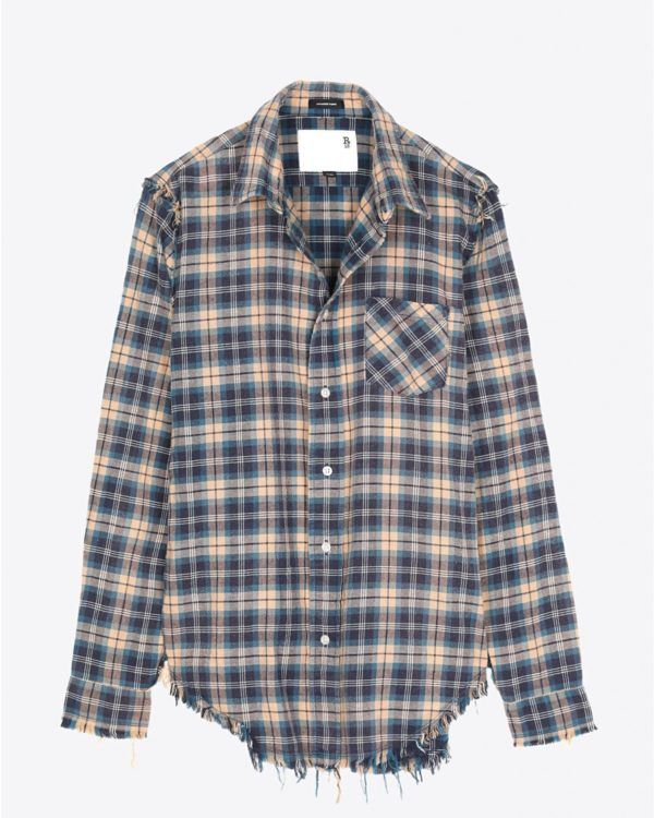 Chemise R13 Denim Pré-Collection Shredded Seam Shirt - Blue/Khaki Plaid