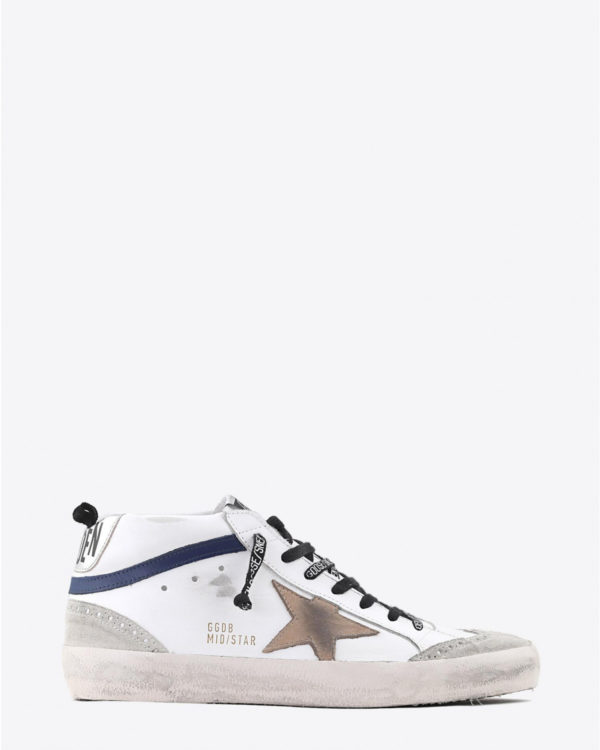 Sneakers Golden Goose Men Sneakers Mid Star - White Blue Leather - Incense Star