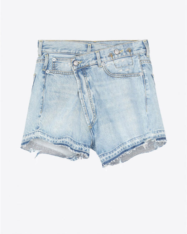 Short R13 Denim Permanent Cross Over Short - Tilly W Let Down Hem